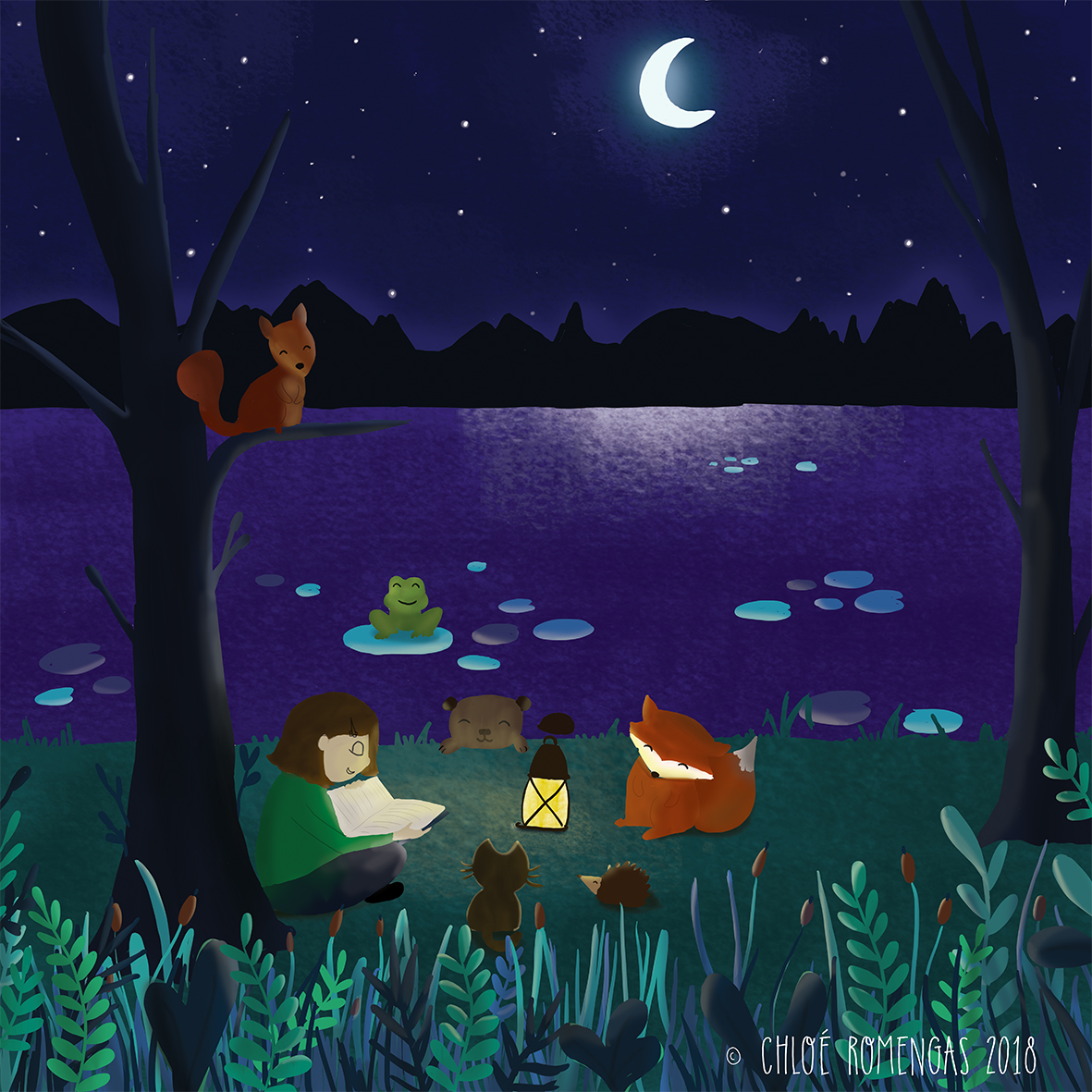 Reading by the lake at night